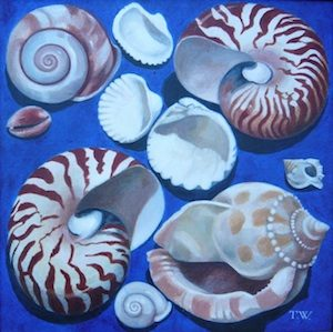 Teresa Winchester - Ten shells on blue background