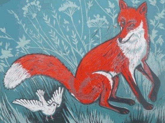 Teresa Winchester - Fox and a white bird