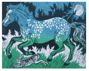 Teresa Winchester Horse and Hare Blue